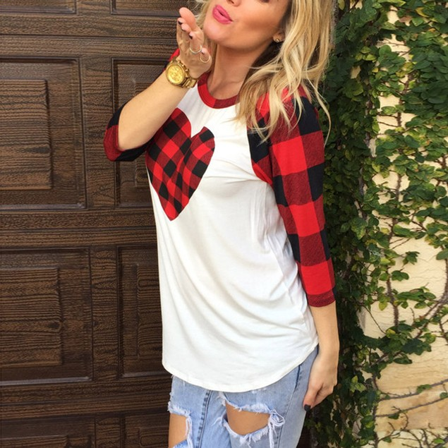 Women Valentine's Day Gift Plaid Heart Printed 3/4 Sleeve T-Shirt Blouse