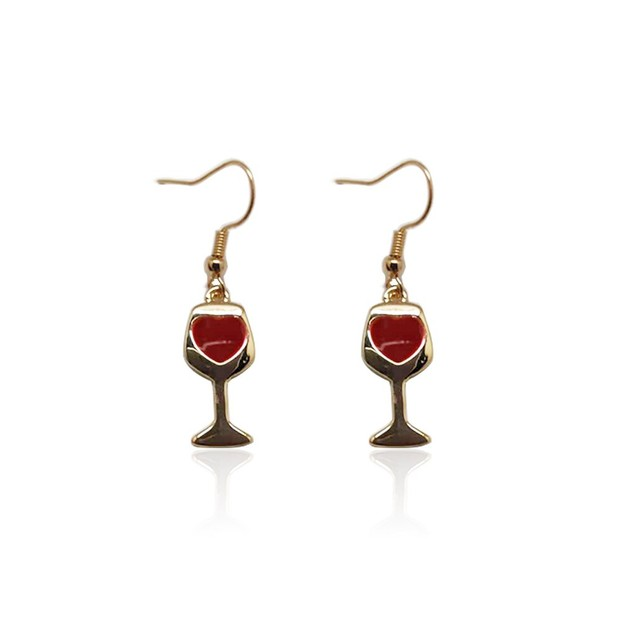 Novadab Sturdy Wine Glass Hooked Earrings