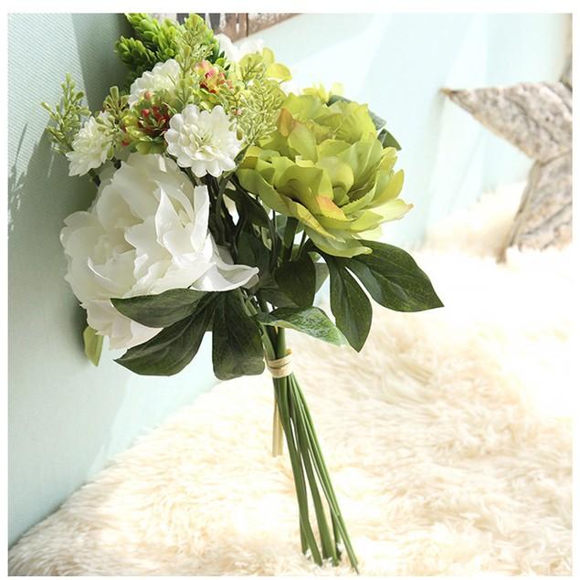 1Bouquet Artificial Peony Silk Flower Leaf Home Wedding Party Decor