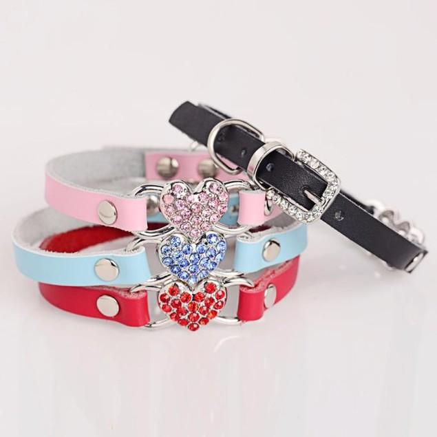 Adjustable Leather Pet Puppy Dog Collar Neck Strap