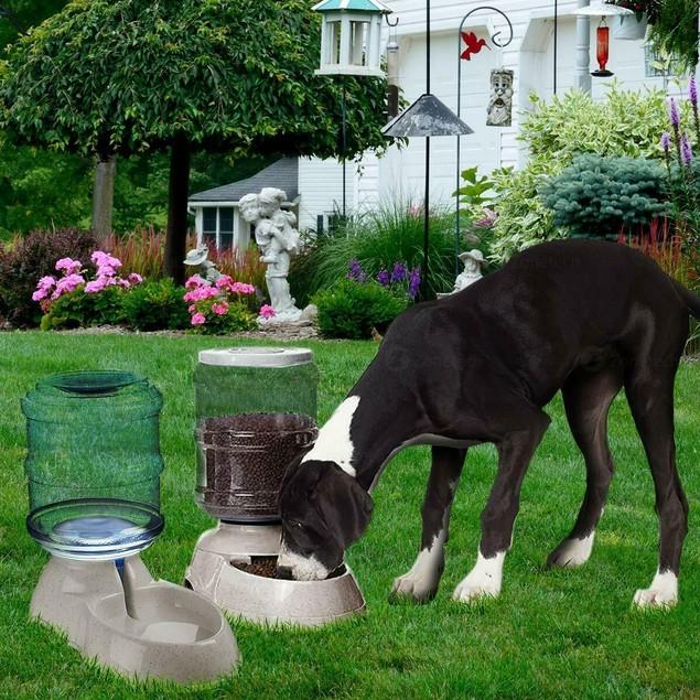 2-Pack Self Dispensing Pet Dog Cat Food Feeder Water Dispenser Gravity