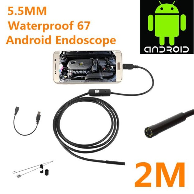 5.5mm Endoscope Borescope Inspection Camera 6 LED For Andorid Phone
