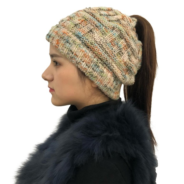 Women's Warm Colored Ponytail Hat