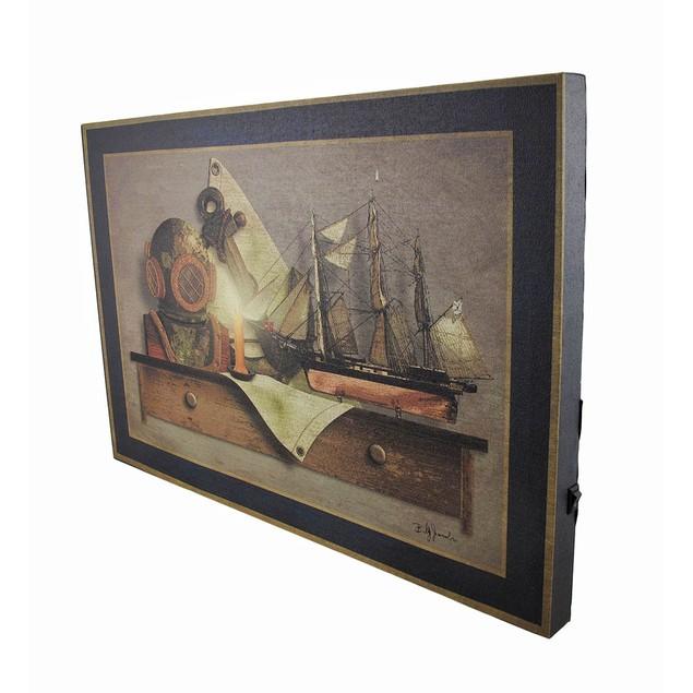 Sea Gear On Wall Shelf Led Lighted Canvas Wall Prints
