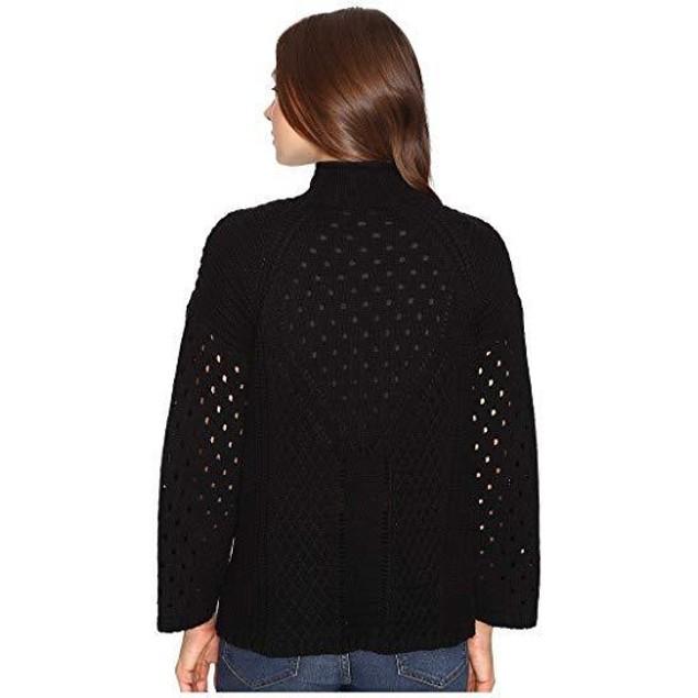 Brigitte Bailey Women's Alexandrite Bell Sleeve Crew Neck Black Shirt