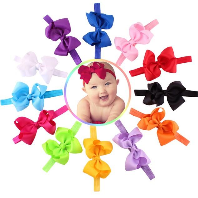 12PC Baby Girls Elastic Bowknot Flower Hairband Photography Headbands - Tanga