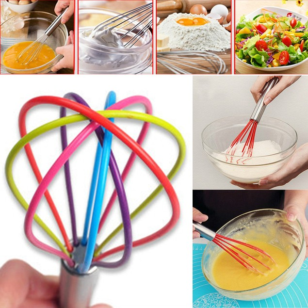 1pc Egg Whisk Non-Stick Premium Silicone Heat Resistant Cook Kitchen Tools