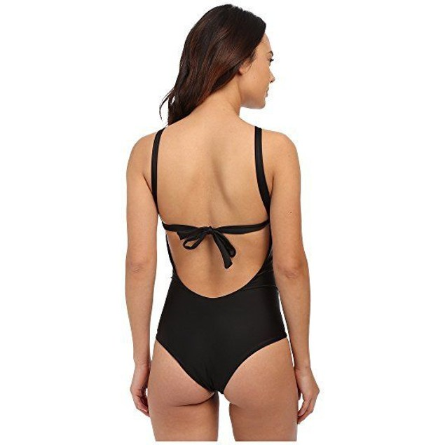 NWT Lolli Women's Glitter Halter Neck One Piece Swimsuit, Black, SZ SM