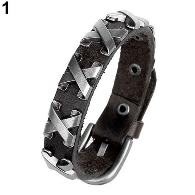 Unisex Punk Cool Style Faux Leather Bangle Bracelet