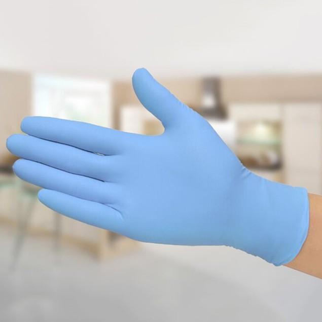 5-Pairs Blue Latex Nitrile Gloves Powder Free Medical Use
