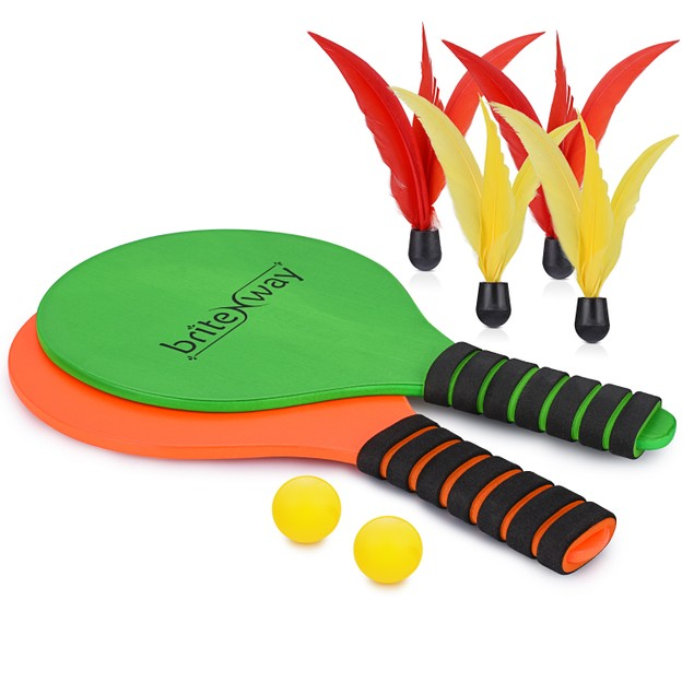 Paddle Ball Game Bundle w' 2 Wooden Racket Paddles -Indoors & Outdoors