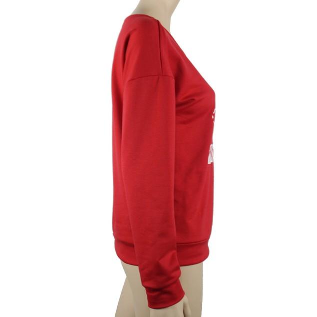Women Christmas long Sleeve Blouse Letter Print Sweatshirt Pullovers D
