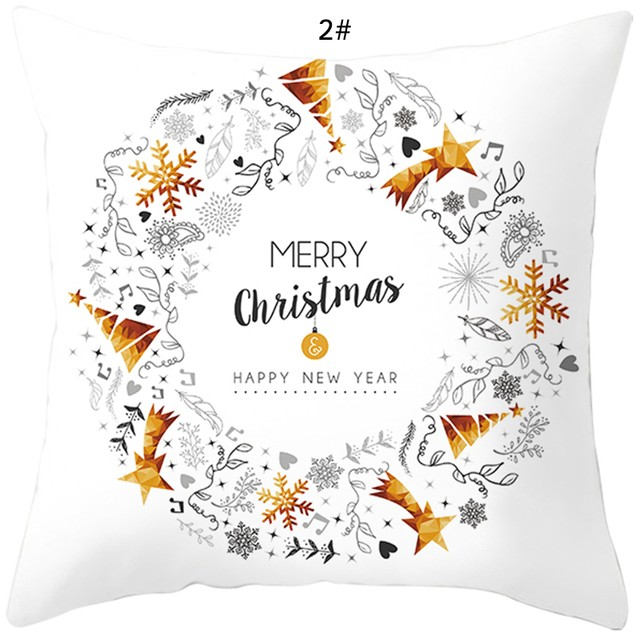 Christmas White Soft Peach Skin Velvet Polyester Square Cushion Cover