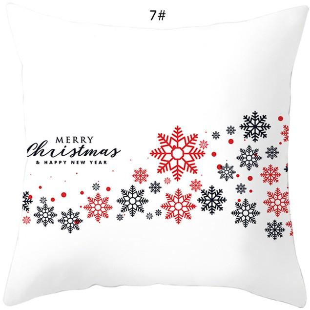 Christmas White Soft Peach Skin Velvet Polyester Square Cushion Cover