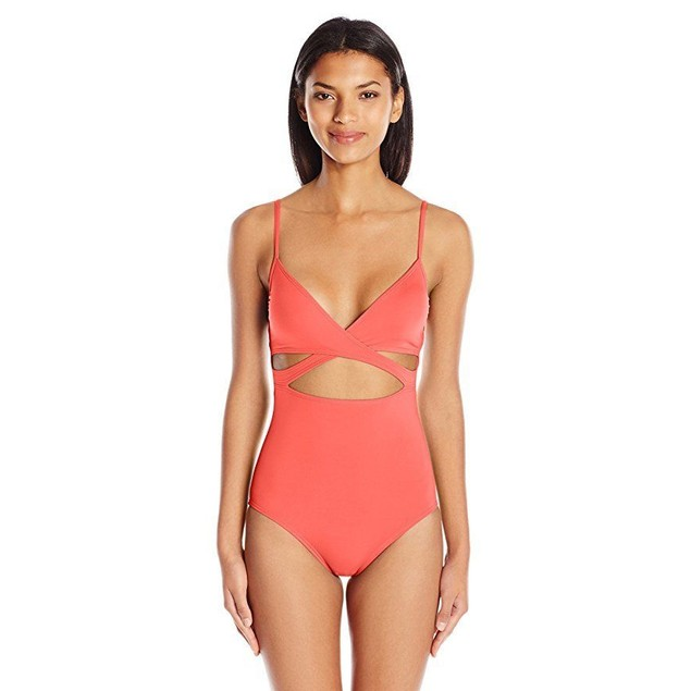 Vince Camuto Women's Wrap One Piece Swimsuit, Fiji Pop Coral, 10 …