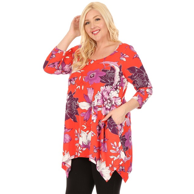 Plus Size Floral Scoop Neck Tunic Top with Pockets