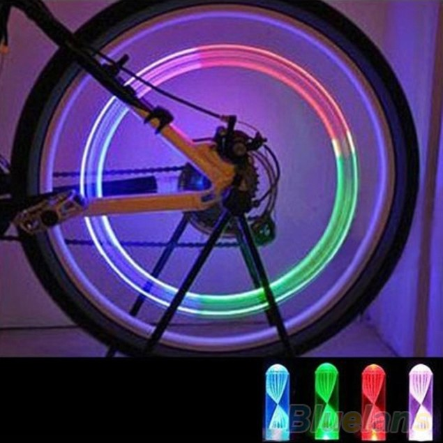 1 Pair Colorful LED Bike Wheel Tire Valves