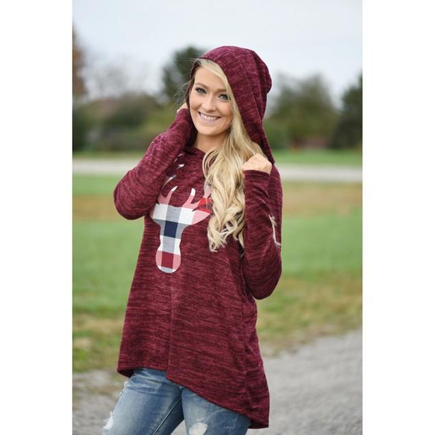 Women Christmas Plaid Reindeer Hoodie Blouse Sweatshirt Pullovers