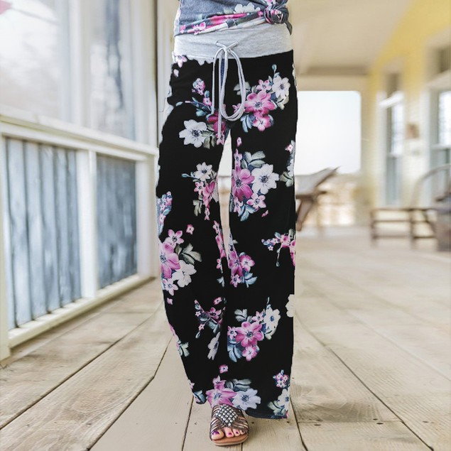 Heather Flower Pants with Grey Waist