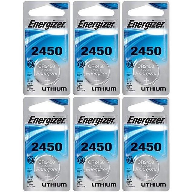 Energizer CR2450 3-Volt Lithium Coin Cell Batteries (6 Batteries)