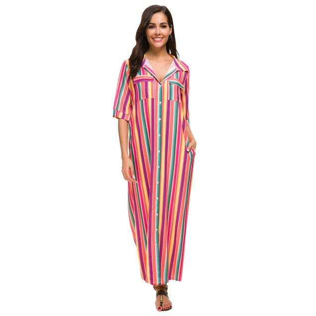 Boho Striped Maxi Dress