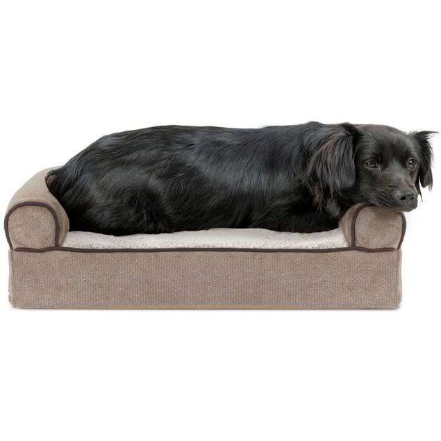 FurHaven Faux Fleece & Chenille Cooling Gel Sofa Pet Bed