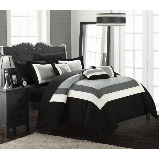 Chic Home 10 Piece Danny Colorblock Bed-in-a-Bag Comforter Sets
