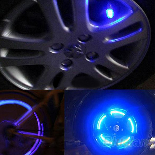 1 Pair Tyre Tire Valve LED Wheel Lights