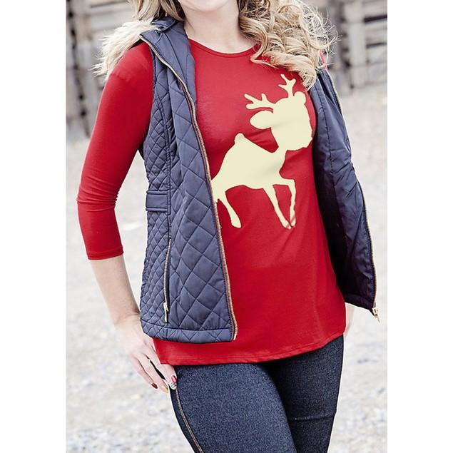 Women Christmas Reindeer Printed T-Shirt Blouse