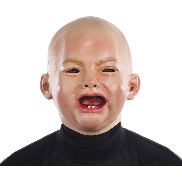 Crying Baby Mask Crybaby Face Creepy Infant Angry Sad Funny PVC Accessory