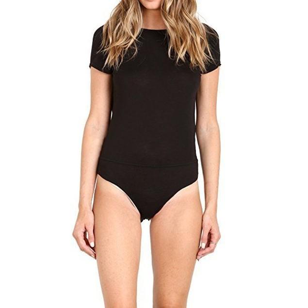 Free People Women's Carma Cowl-Back Bodysuit Black Jumpsuit SZ: M