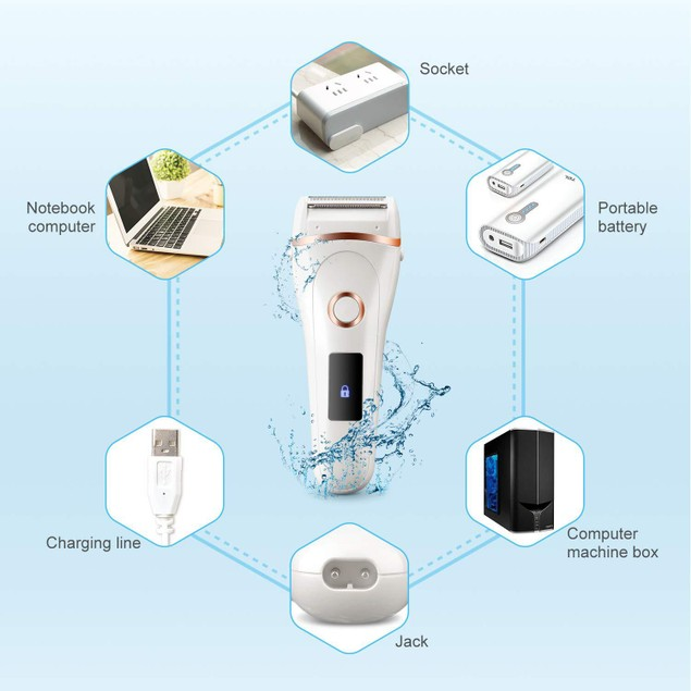 Waterproof Rechargeable Multi-Function Electric Epilator with Display