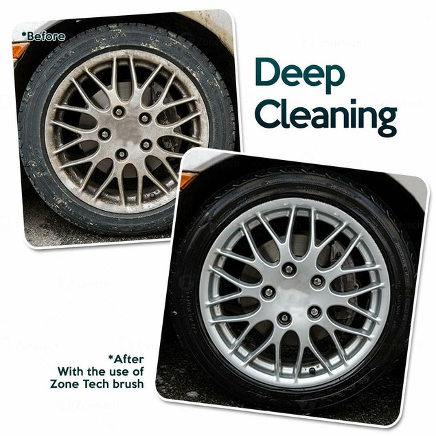 """Zone Tech Auto Motorcycle Wheel Rim Tire Cleaning Brush Detailing 18"""""""