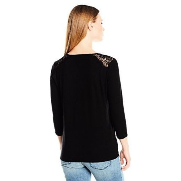 NYDJ Women's Size Ella Lace Knit Top SIZE LARGE/PETITE
