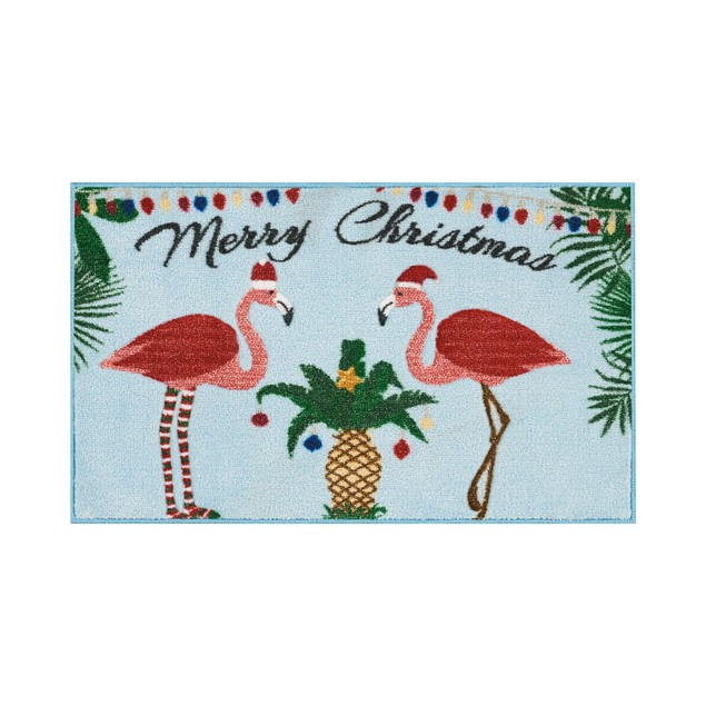 """Nourison Flamingo Holiday 18"""" x 30"""" Accent Rug, Holiday Décor, Blue"""