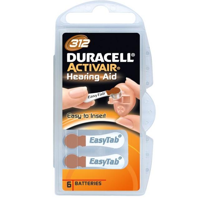 Duracell Activair Size 312 Zinc Air Hearing Aid Batteries (60 pack)