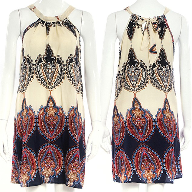 Women Fashion Sleeveless Printing Dress