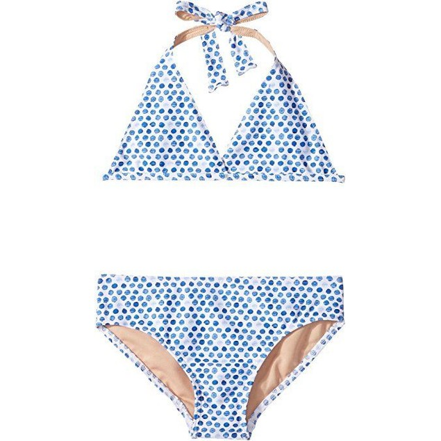 Toobydoo Baby Girl's Blue Watercolor Dot Bikini Sz: 9/10