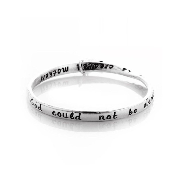 Novadab Mother Love Engraved Angel Charm Bangle
