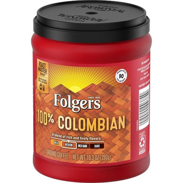 Folgers Coffee Medium 100% Colombian Ground 2 Can Pack