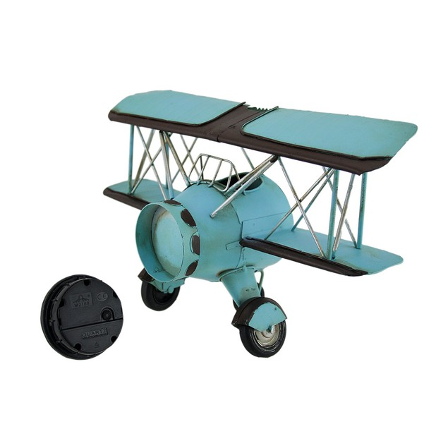 Blue Barnstormer Retro Biplane Wall Clock Wall Clocks