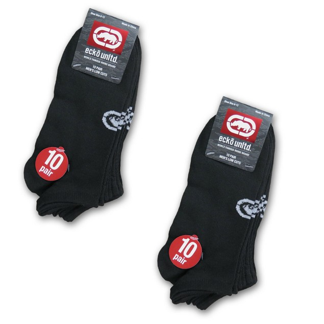 20-Pairs Ecko Men's Black Quick Dry No Show Athletic Socks