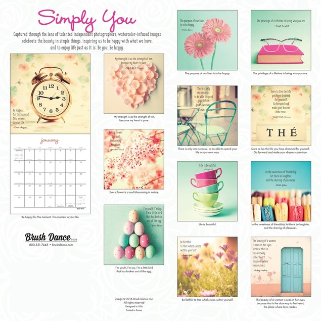 Simply You Mini Wall Calendar, Photography by Calendars