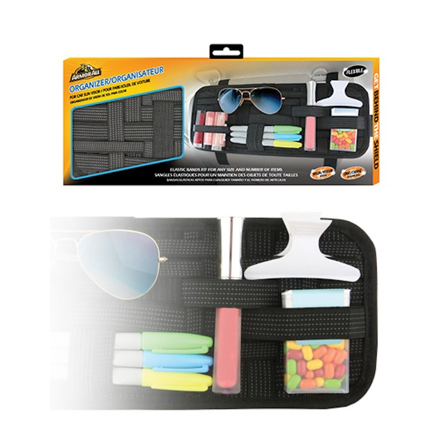 ArmorAll Car Sun Visor Organizer Elastic Bands Fit Any Size Items
