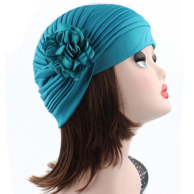 Women Flower Indian Stretch Turban Hat Chemo Cap Hair Scarf Headwrap l
