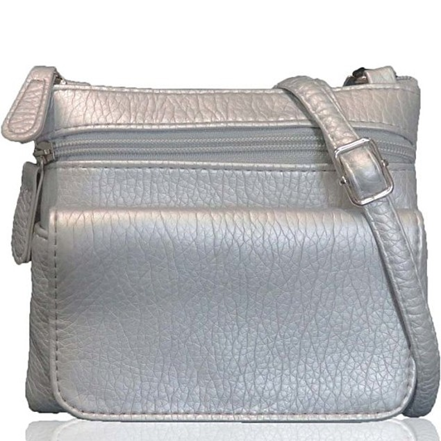 Metallic Silver Crossbody Bag