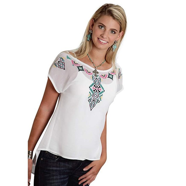 Roper Women's 9775 Solid Georgette Top - White White Blouse SM