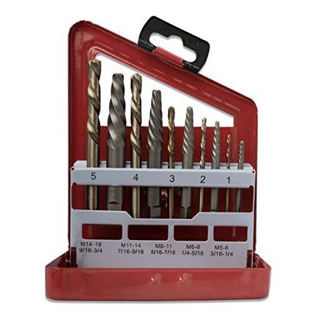 Screw Extractor and Left Hand Drill Bit Set, 10 Piece