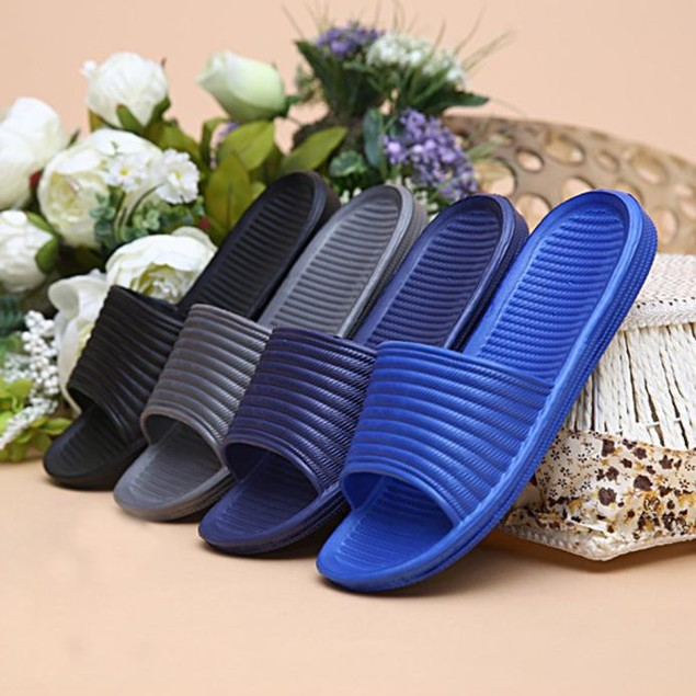 Man Stripe Flat Bath Slippers Summer Sandals Indoor & Outdoor Slippers