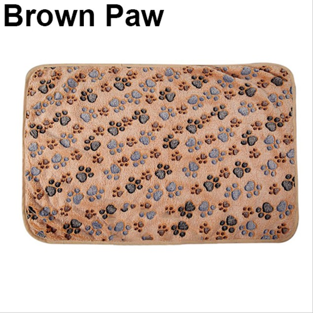 Pet Bone Paw Print Warm Coral Fleece Mat Soft Blanket Bed Pad